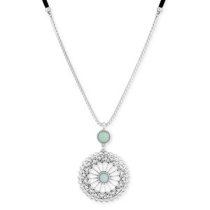 Lucky🍀Silver-Tone &Stone Openwork Flower necklace